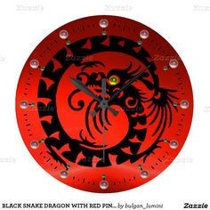 BLACK SNAKE DRAGON WITH RED PINK GEMSTONES WALL CLOCKS