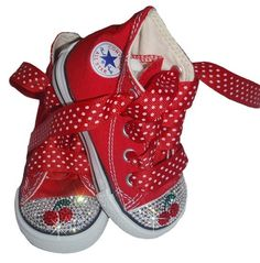 Swarovski baby bling cherry rhinestone converse by princesspatch, $89.99 >>  These shoes are rocking!! So cute:)