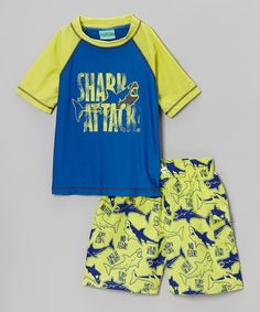 Look what I found on #zulily! Yellow & Blue 'Shark Attack' Rashguard & Shorts - Toddler & Boys #zulilyfinds
