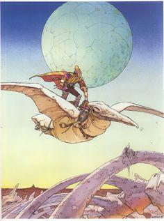Comic art by the great French comic artist Moebius (Jean Giraud). Arte Sci Fi, Sci Fi Art, Jean Giraud, Art And Illustration, Illustrations, Comic Book Artists, Comic Artist, Robert E Howard, Art Science Fiction