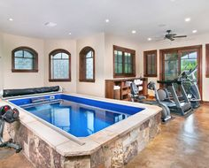 home gym, my dream to have a endless pool inside!!