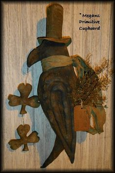 Primitive Grungy Handmade St Patricks Black Crow Door Doll with Shamrocks ~Made To Order~