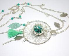 Bola de grossesse pompon feuilles ange ailes dreamcatcher attrape rêve argenté turquoise vert opale vert menthe : Autres bijoux par odacassie