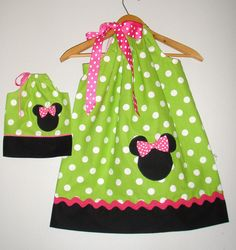 "minnies green dot pink trim  pillowcase matching doll dress  sizes 5t, 6, 7, 8 American Girl Doll or 18"" doll"