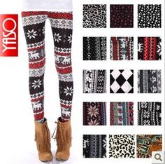 "6 dollar winter leggings! So need these for ugly Christmas sweater parties!  needing ideas for a FUN Ugly Christmas Sweater Party check out ""The How to Party In An Ugly Christmas Sweater"" at Amazon http://www.amazon.com/Party-Christmas-Sweater-Simple-ebook/dp/B006PGBRDW/ref=sr_1_3?ie=UTF8=1354124434=8-3=the+how+to+party+in+an+ugly+christmas+sweater"