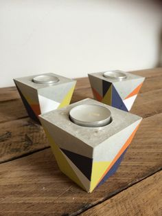 Concrete candle holder set of 3 by StoneAndTreeCo on Etsy