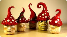 DIY Fairy Garden Mushroom Gnomes. In this video tutorial I show you how to make some funny garden gnomes using jars, tin foil, hot glue, white air-hardening clay and watercolors. It's fun to make and you can use it as candy jar for a candy bar, birthday p. Diy, Room, Garden,