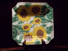 Lovely square sunflower plate with gold edging. Raised sunflower design that would look great in a sunroom or kitchen (not for food use). Sunflower Design, Antiques, Spring, Garden, Holiday, Vintage, Home Decor, Dishes, Antiquities