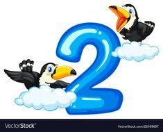 Two toucan and number two Royalty Free Vector Image Numbers Kindergarten, Numbers Preschool, Preschool Worksheets, Preschool Activities, Toddler Learning Activities, Alphabet Activities, Educational Activities, Display Boards For School, Forest Cartoon