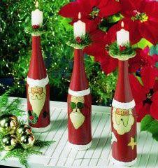 botellas de vino decoradas para navidad - Buscar con Google