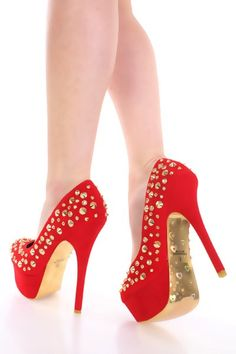 Gotta have them in red Gold High Heels, Pumps, Stilettos, Me Too Shoes, Christian Louboutin, Red High, My Style, Google Search, Fashion