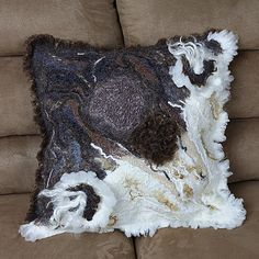 Felted Pillow case, eco-friendly, country home decor, natural white, black and brown,nuno felted decorative throw pillow case
