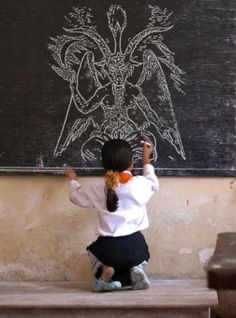 Woah! This little one drew an excellent Baphomet!