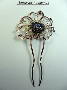 Hair ornament copper hairpin labradorite in the by Vikinkreatif