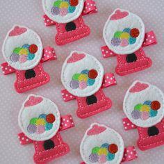 Fuchsia Felt Gumball Machine Hair Clip - super cute bubble gum clippie. $3.50, via Etsy.