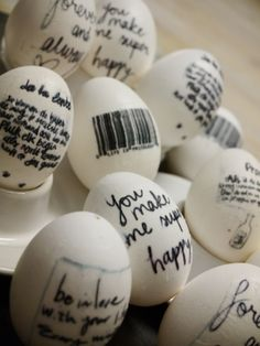Easter: DIY easter eggs  it would be fun to put one in their basket with a bible verse about easter on it, then look it up...LOVE the idea of putting easter eggs with bible verses in the baskets!