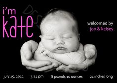 Simple Stats Birth Announcement Girl