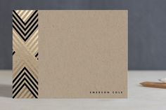 Personalized her love notes to you with Braided Chevron Foil-Pressed Stationery by Vellum and Vogue at minted.com