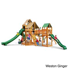 8723fe9bf733c Gorilla Playsets Treasure Trove II Swing Set with Amber Posts Cedar Swing  Sets