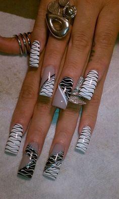 crazy zebra designed nails - Google Search