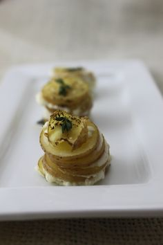Goat Cheese, Potatoes, Butter. Stacked as high as a miniature potato high rise.