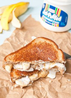These Grilled Fluffernutter Sandwiches with peanut butter, marshmallow fluff, and sliced banana are golden, melty perfection. Toaster Oven Cooking, Convection Oven Recipes, Toaster Oven Recipes, Entree Recipes, Grilling Recipes, Cooking Recipes, Grilled Bananas, Healthy Sandwich Recipes, Sandwich Toaster