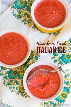 Amazing Strawberry Basil Italian Ice on ASpicyPerspective.com
