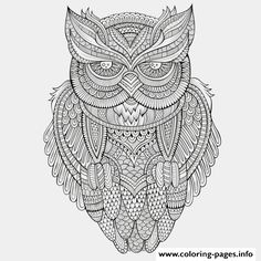 Print animals advanced owl coloring pages