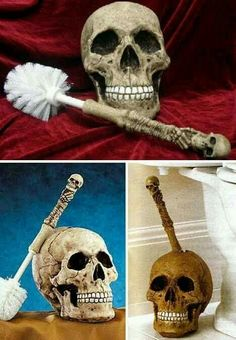 Skull-themed toilet brush. I almost want to get this to freak people out in the bathroom – I'm really not a nice person. lol. Fosterginger.Pinterest.ComMore Pins Like This One At FOSTERGINGER @ PINTEREST No Pin Limitsでこのようなピンがいっぱいになるピンの限界