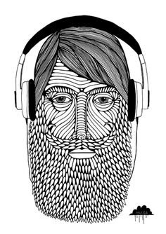 mulga the artist illustration drawing artwork picture of man wearing headphones beard curly moustache bearded gentleman illustrator joel moore hipster fringe
