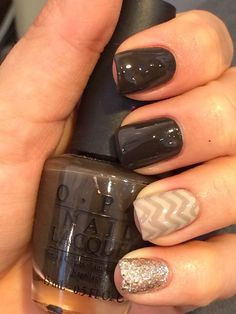 Fall Nails OPI Get in the Expresso Lane with chevron and gold glitter accent nails