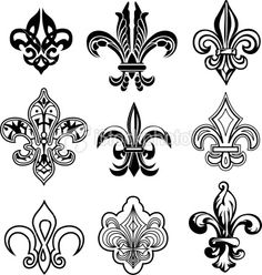 Illustration of classic fleur de lis symbol vector art, clipart and stock vectors. Flor Imperial, Tattoos Pinterest, Tattoo Dentelle, 257, Geniale Tattoos, Marquesan Tattoos, Clipart, Cool Tattoos, Tatoos