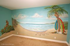I love how they wrote his name in the sand! Awesome wall mural for a surfer boys room!