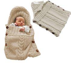 Colorful Newborn Baby Wrap Swaddle Blanket, Comwinn Baby Kids Toddler Wool Knit Blanket Swaddle Sleeping Bag Sleep Sack Stroller Wrap for 0-12 Month Baby (small, Kahki) - $9.99