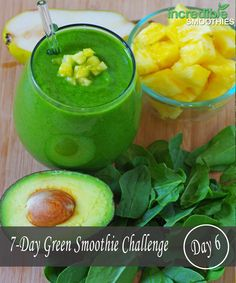 Day 6 - Pineapple Avocado Green Smoothie   -1/4 avocado -1 cup pineapple -1/2 pear, cored -3 cups baby spinach  -2 tablespoons chia seeds, soaked for 5 minutes   -8 ounces (236 ml) unsweetened almond milk