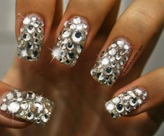 Bling nails are so beautiful to look at. To add dimension to your diamanté nails have different size rhinestones placed sporadically over the nail plate. It looks amazing.pin courtesy of Jolene/Jody Miller. Get Nails, Love Nails, How To Do Nails, Pretty Nails, Hair And Nails, Nails 24, Style Nails, Crazy Nails, Rhinestone Nails