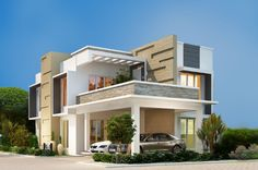 Villas in Kochi-Luxury Villas in Cochin Abad builders have launched the villas in Kochi. The luxury villas in Cochin by Abad is with world class features adn amenities attached in the villas. For more villas in Kochi please contact Abad builders. Modern Exterior House Designs, Latest House Designs, Modern Architecture House, Modern Buildings, Modern House Design, Exterior Design, Four Bedroom House Plans, 3d House Plans, House Outside Design