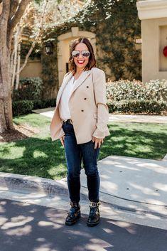Camel Blazer Gucci Belt Skinny Jeans Frame Denim