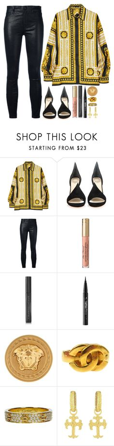 """""""🌻 luxe 🌻"""" by iriskatarina ❤ liked on Polyvore featuring Versace, Francesco Russo, J Brand, Chantecaille, Kat Von D, Chanel, Cartier and Victor Velyan"""
