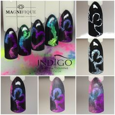 Smoke Nails Art Indigo Nails Acryl powder Tutorial step by step