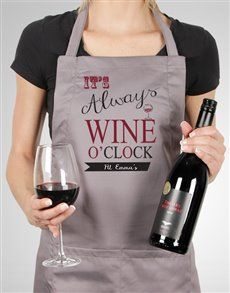 Personalised Wine O Clock Apron Same Day Delivery Service, Personalised Wine, Wine O Clock, Oclock, Ladies Day, Apron, Gifts, Presents, Favors