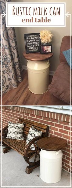 Rustic metal milk can end table. Perfect for our porch or in the livingroom. A nice accent to our home. #ad #rustic #homedecor #table #milkcan #farmhouse #endtable #roundtable