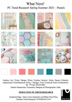 #Pastels #pastelcolors #pastel #SS2021 #WhatNextPCTrendResearch #PriyaChanderDesigns #FashionForecastByPriyaChander #ColorTrendsByPriyaChander #fashionconsultant #fashiondesigner #springsummer2021 #fashionforecaster #fabricprints #interiordecor #fashionforecastspringsummer2021 #interiors #homedecor #InteriordesignTrends #knitwear #hautecouture #fashionweekSS2021 #colortrendsSS2021 #fashionforecast #fashion #art #design #fashionresearch #fashionforecasting #sportswear #wallart #folkart… Interior Design Trends, Estilo Tropical, Trend Fabrics, Fashion Forecasting, Colour Pallete, Summer Fashion Trends, Colour Board, Trendy Colors, Spring Colors