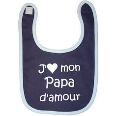 Bulle de bb Bavoir j'aime mon papa d amour marine/ciel