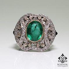 Antique Art Deco Platinum 1ct. Diamond & 2.82ct. Emerald Ring