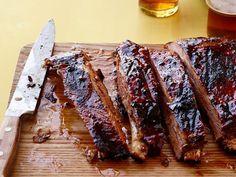 Chili-Glazed Pork Ribs recipe from Food Network Kitchen via Food Network Pork Rib Recipes, Barbecue Recipes, Grilling Recipes, Cooking Recipes, Vegetarian Grilling, Rub Recipes, Healthy Grilling, Roast Recipes, Barbecue Sauce