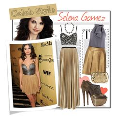 """""""Celebrity Style: Selena Gomez"""" by ways2wearit ❤ liked on Polyvore featuring Ani Lee, Motel, Balenciaga, Enza Costa, Comptoir Des Cotonniers, Alexander McQueen, Christian Louboutin, MANGO, metallics and bustier tops"""