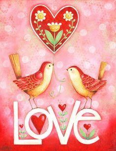 Two Little Love Birds Hand Lettered 8x10 Inspirational Art Print