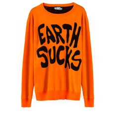 VFILES EARTH SUCKS CREWNECK SWEATER ❤ liked on Polyvore featuring tops, sweaters, jeremy scott, crew neck sweaters, orange top, crew-neck tops, crew sweater and merino crewneck sweater