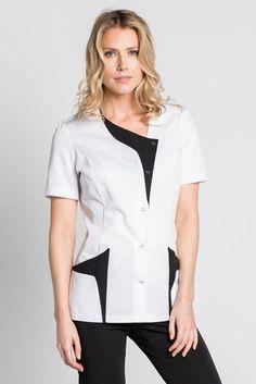 Blouse de travail Esthetica Spa Uniform, Scrubs Uniform, Maid Uniform, Beauty Uniforms, Scrubs Outfit, Iranian Women Fashion, Medical Uniforms, Medical Design, Uniform Design